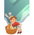 little girl or boy hunting big decorative vector image