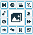 media icons set with quarter comment end and vector image