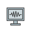 monitor pc computer screen flat color line vector image