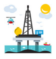 offshore drilling platform flat style vector image vector image