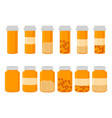 on theme big colored set different types of pills vector image