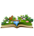 open book with animal farm in the park vector image vector image