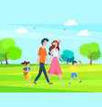 parents and children spend time outdoors family vector image vector image