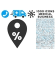 Percent Map Marker Icon with 1000 Medical Business vector image