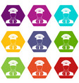 pilot icon set color hexahedron vector image vector image