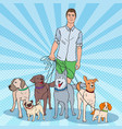 pop art dog walker young man walking with dogs vector image