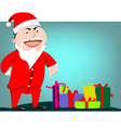 Santa Claus pointing on gift boxes vector image vector image