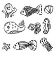 scribbling sea fish and animals black outline vector image