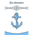 sea adventure banner big blue anchor image vector image vector image