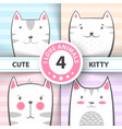 set cute pretty cat and kitty characters vector image vector image