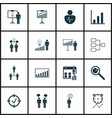 set of 16 authority icons includes personal vector image
