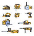 set of electric construction tools flat style vector image
