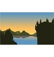 Silhouette of cliff on the lake vector image