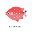 snapper freshwater fish geometric flat style vector image vector image