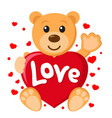 teddy bear holding heart and waving paw on a white vector image vector image