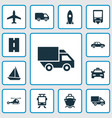 transport icons set collection of yacht way cab vector image vector image