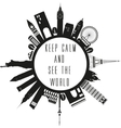 Travel globe in black and white with quote vector image vector image