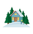 winter mountain landscape background with country vector image vector image