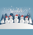 winter season and merry christmas with snow man vector image vector image