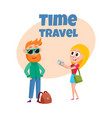 travel time poster banner postcard design with vector image