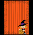 halloween of young witch with pumpkin on ora vector image
