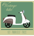 Vintage card of white scooter in retro style vector image