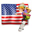 A female skater near the USA flag vector image vector image