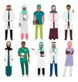 african doctor and arab nurse characters vector image vector image