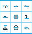 auto icons colored set with drive control stick vector image