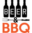 beer bbq on white background vector image vector image