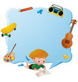 border template with boy reading book vector image vector image
