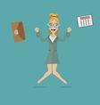 business woman jumping for joy vector image vector image