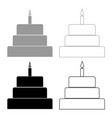 cake with candle icon grey and black color vector image vector image