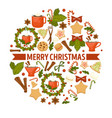 christmas holiday cookies and cocoa with vector image