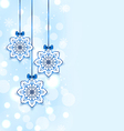 Christmas three snowflakes with bows vector image vector image