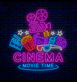 cinema night neon sign vector image vector image