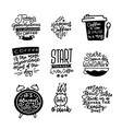 coffee themed hand drawn calligraphy quotes and vector image vector image