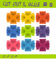 cut out and glue educational paper game for vector image