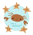 cute cartoon crab and stars set vector image