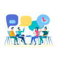 discussion at the table communication in the vector image vector image