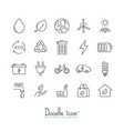 doodle ecology icons vector image vector image