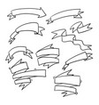 doodle ribbon collection handmade cartoon style vector image vector image