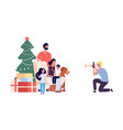 family photo happy family mom dad daughter son vector image vector image