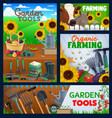 farming and gardening tools banners vector image vector image