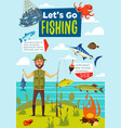 fishing sport poster fish and fisherman vector image vector image