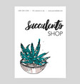 flyer template with hand drawn desert plant vector image