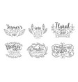 garden shop hand drawn badges set floral organic vector image vector image