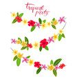 garlands with tropical leaves and flowers vector image