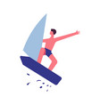 guy in trunks jumps on sailboard with splashes vector image