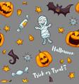 halloween seamless pattern funny pumpkins vector image vector image